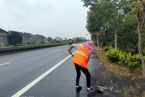 靖江公路分中心及时清除路边堆积物保安畅